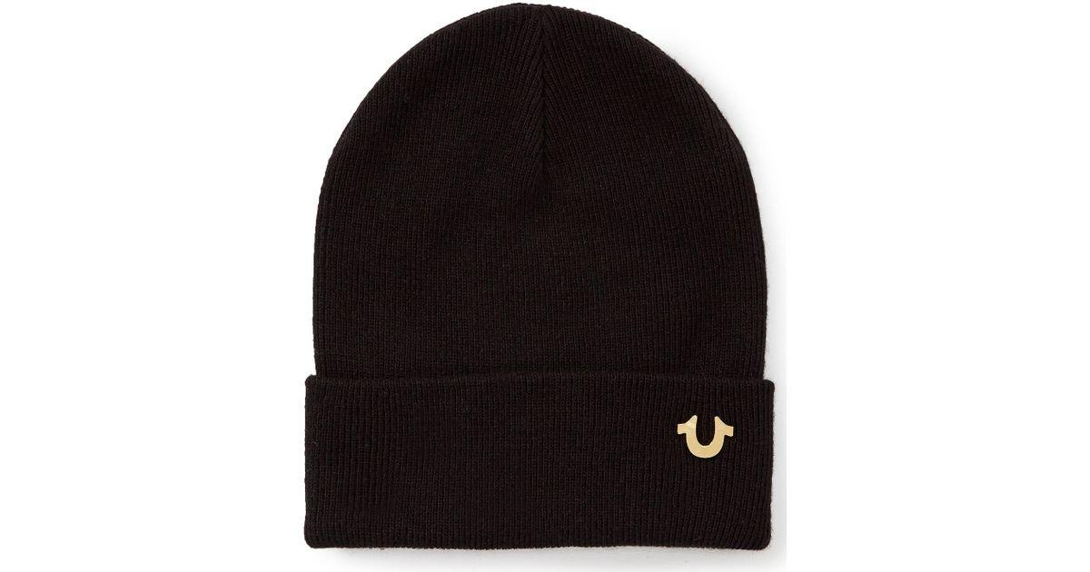 Lyst - True Religion Metal Badge Watchcap Hat in Black for Men 7aa2bd2c36d3