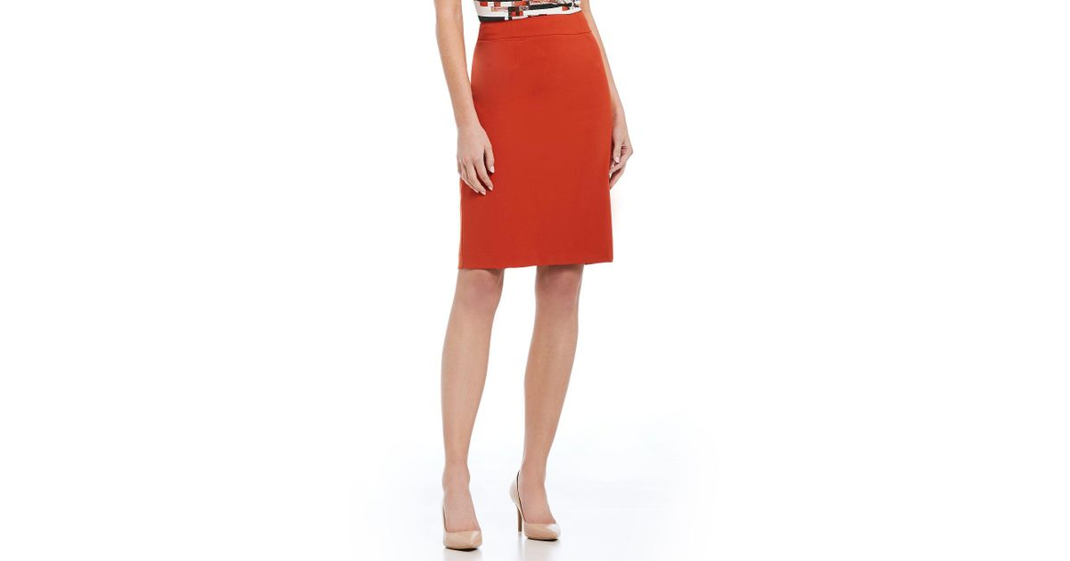 0e5aa8331f929 Lyst - Calvin Klein Lux Stretch Suiting Pencil Skirt in Red