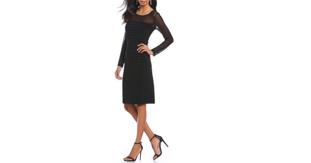 Lyst Adrianna Papell Illusion Neckline Pintuck Sheath Dress In Black