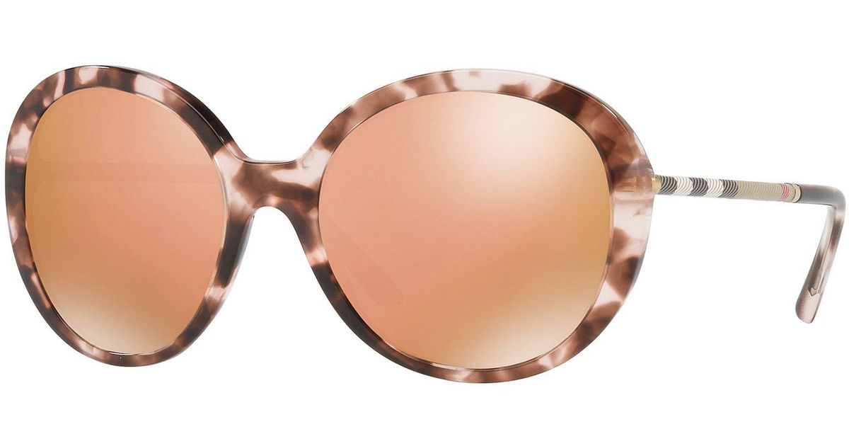 8c3b6ecfefc5 Lyst - Burberry Havana Mirrored Round Tortoise Sunglasses in Brown