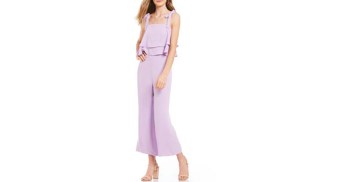 4184b3ae6e2 Lyst - Gianni Bini Madi Tiered Ruffle Tie Strap Jumpsuit in Purple