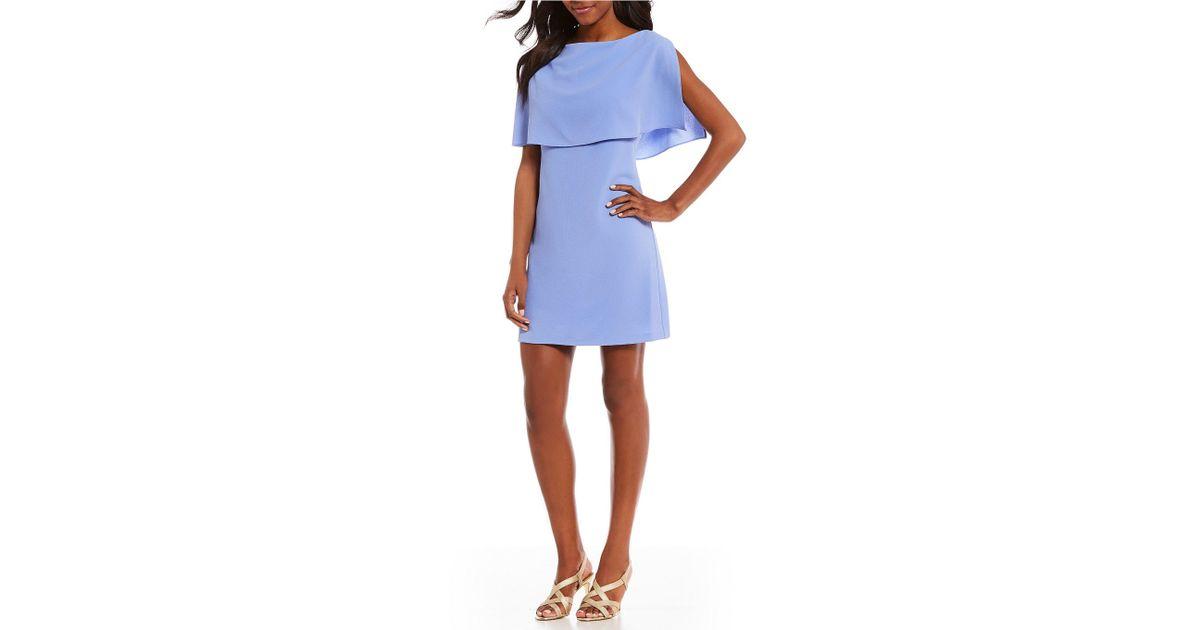 b651653ec5a4 Lyst - Adrianna Papell Split Sleeve Popover Dress in Blue