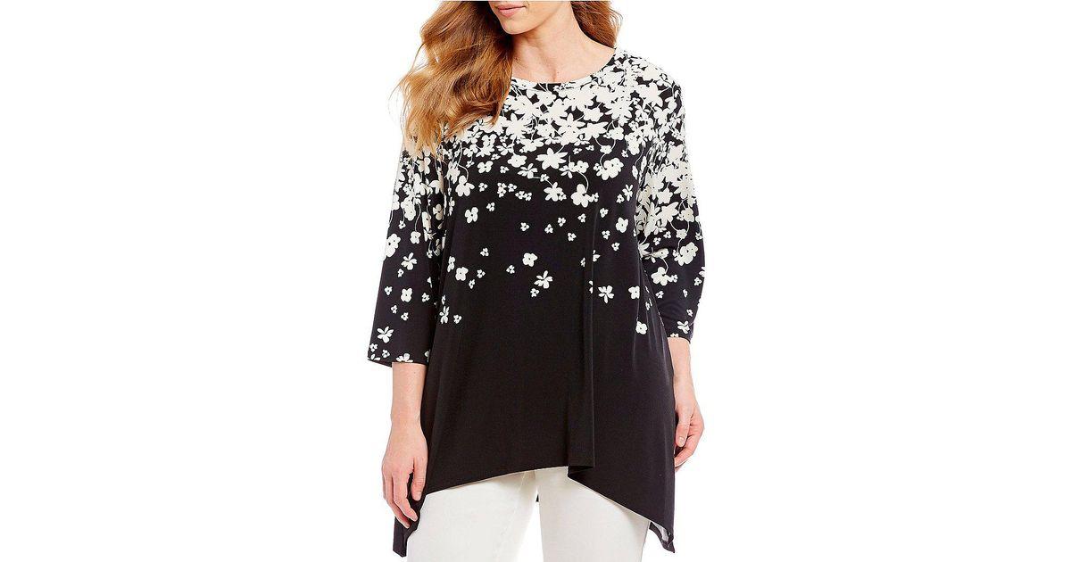 944d131e0b4 Lyst - CALVIN KLEIN 205W39NYC Plus Size Long Sleeve Floral Print Sharkbite  Top in Black