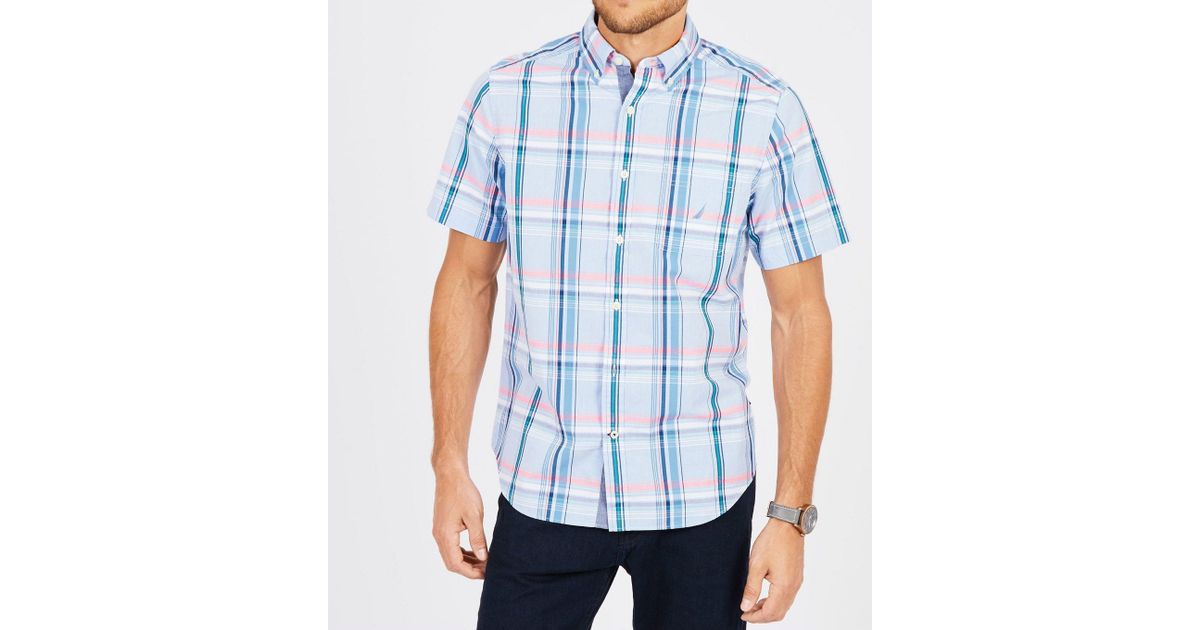 c79196ed Lyst - Nautica Short Sleeve Casual Plaid Shirt in Blue for Men - Save  27.272727272727266%
