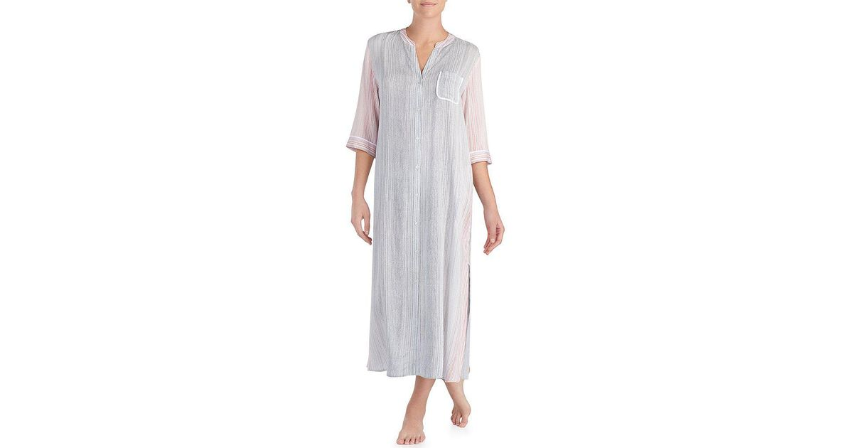 a7a140c81a7621 Lyst - Donna Karan Striped Woven Maxi Sleep Shirt