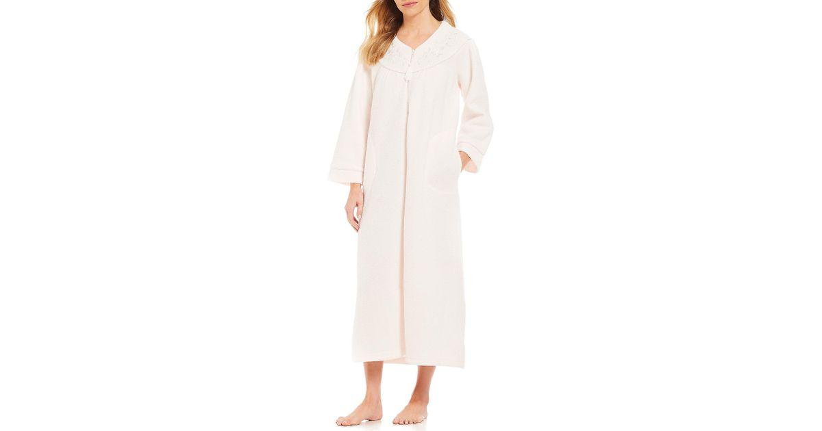 d753aadaed Lyst - Miss Elaine Plus Brushed-back Terry Long Zip-front Robe