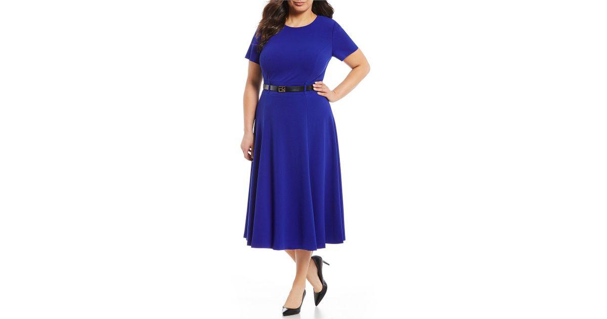 43c9cbd9403 Lyst - Calvin Klein Plus Size Logo Belt Short Sleeve Midi Dress in Purple
