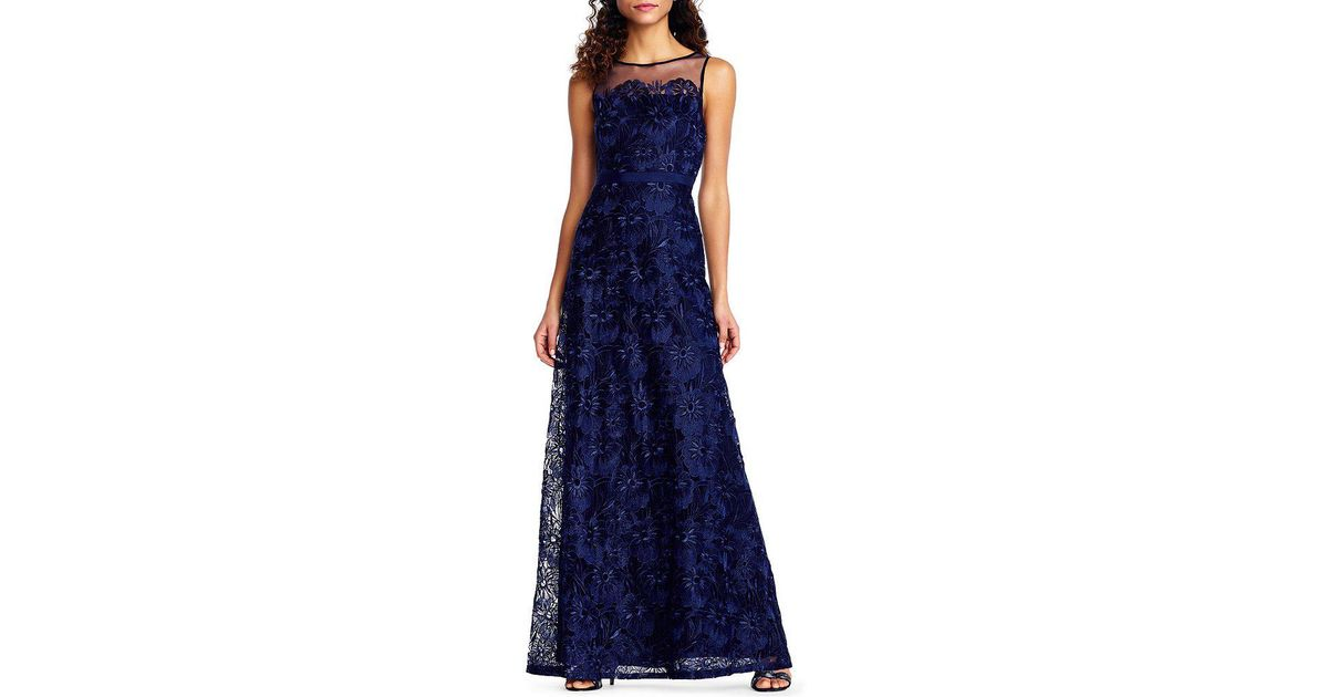Lyst - Adrianna Papell Petite Scalloped Lace Ball Gown in Blue
