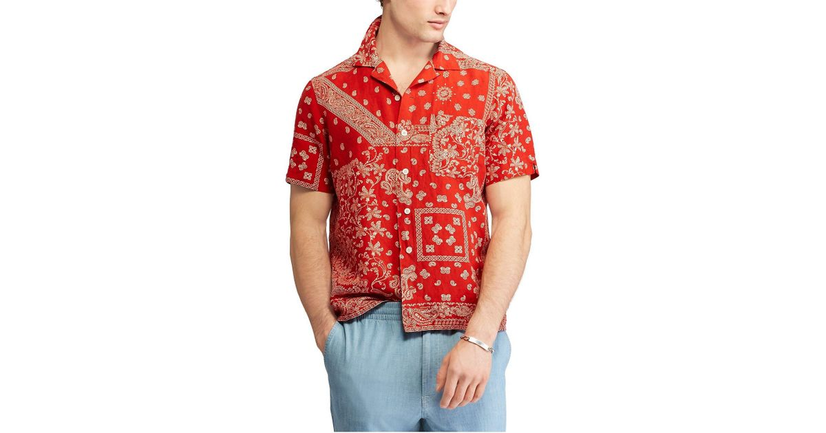 69493b47d Polo Ralph Lauren Bandana Sport Shirt in Red for Men - Lyst