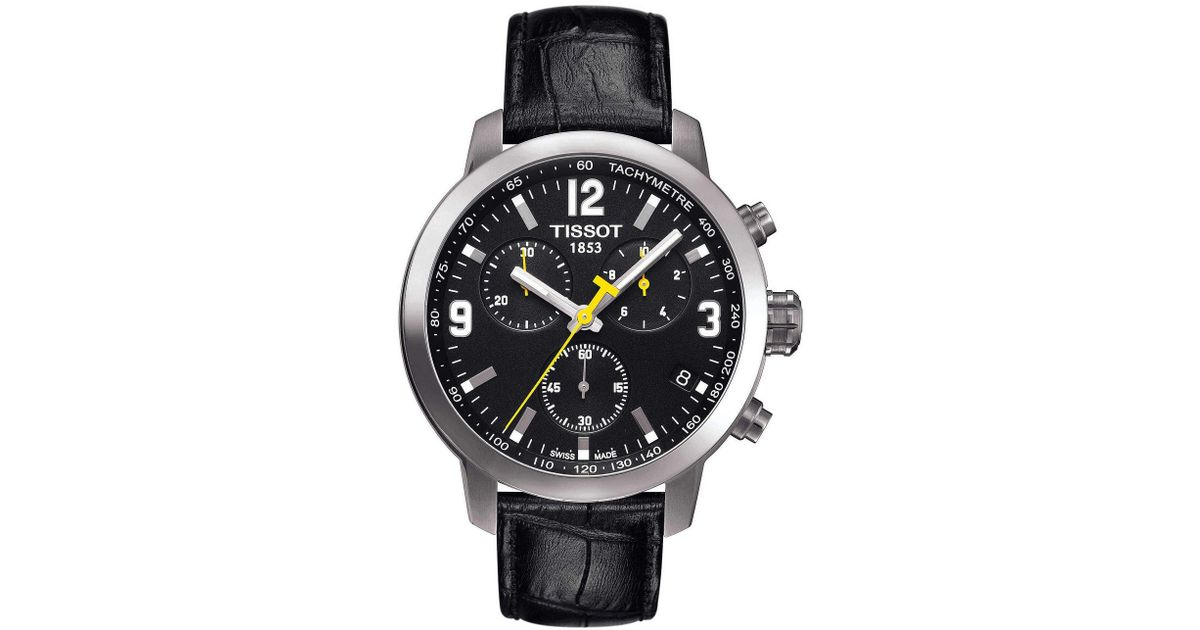 e2a4d4efb Tissot T-sport Prc 200 Chronograph & Date Leather-strap Watch in Black for  Men - Lyst