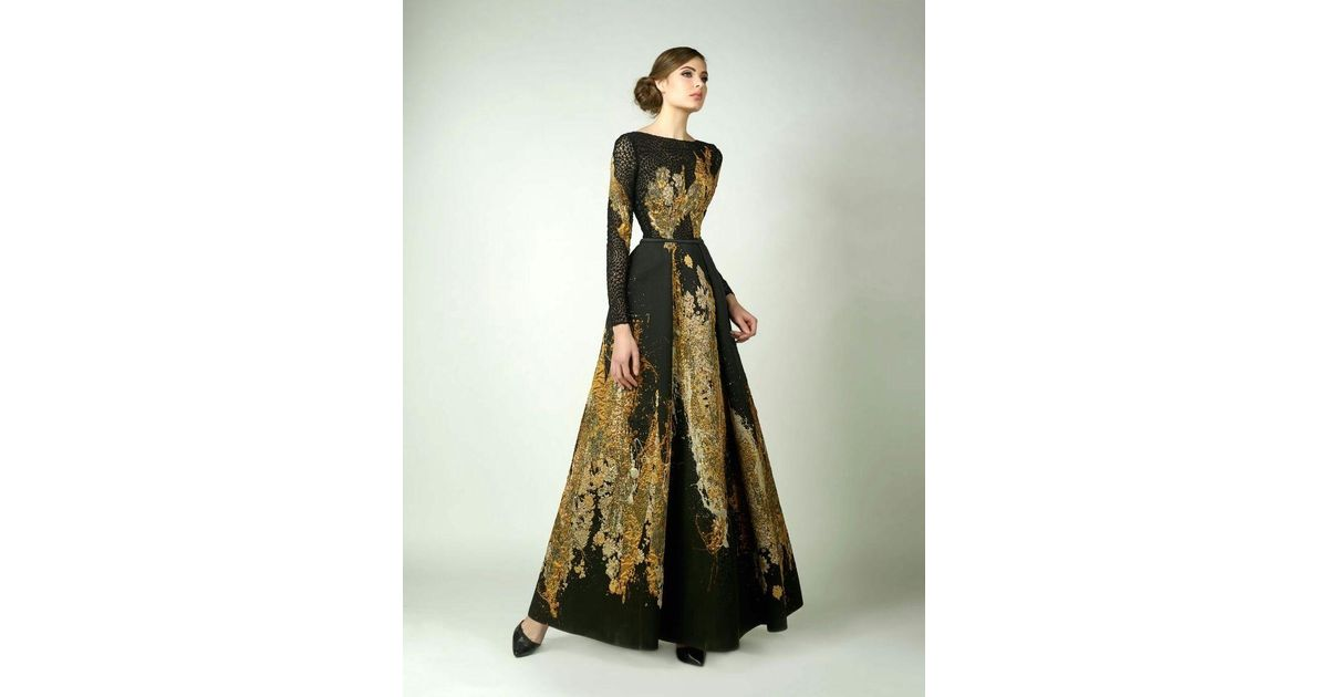 Lyst Edward Arsouni Divina By Black And Gold Long Sleeve Evening