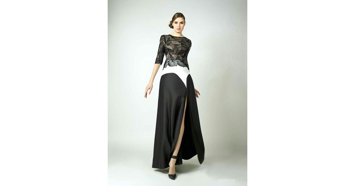 Lyst - Edward Arsouni Divina By Black And White Evening Gown in Black