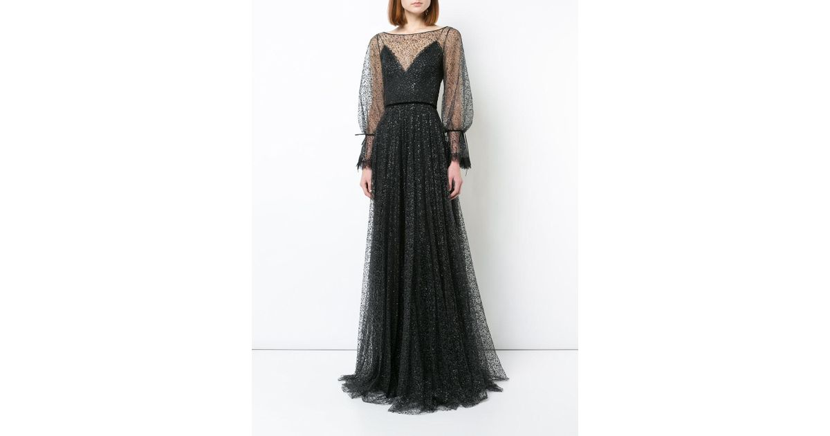 Lyst Marchesa Couture Black Long Sleeve Evening Gown In Black