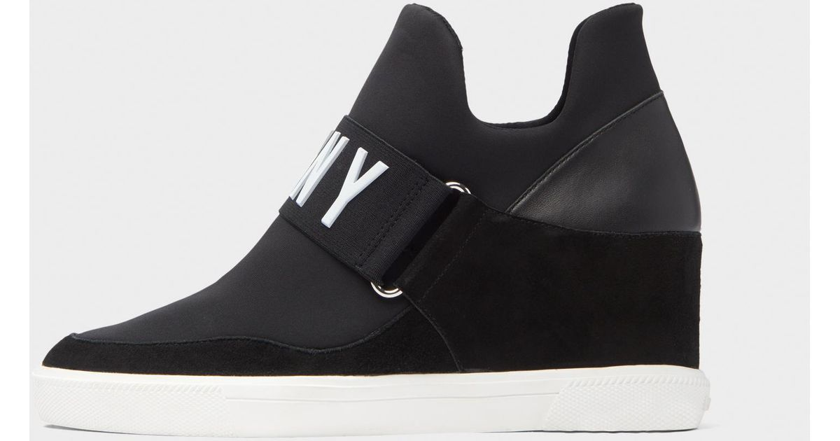 c5f67d21c4e Lyst - DKNY Cosmos Wedge Slip-on Sneaker in Black