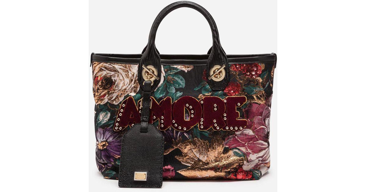 7024cbfd15 Lyst - Dolce   Gabbana Capri Shopping In Lurex Jacquard And Iguana Print  Calfskin Trim