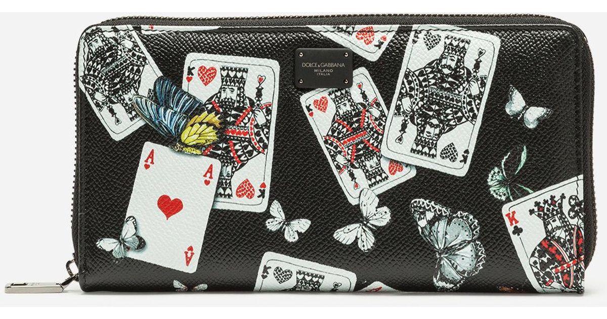 4594dd59fa Dolce & Gabbana Zip-around Wallet In Printed Dauphine Calfskin in Black -  Lyst