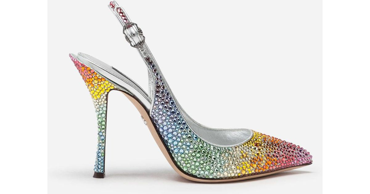 400de672098 Lyst - Dolce   Gabbana Sling Backs In Satin And Crystal
