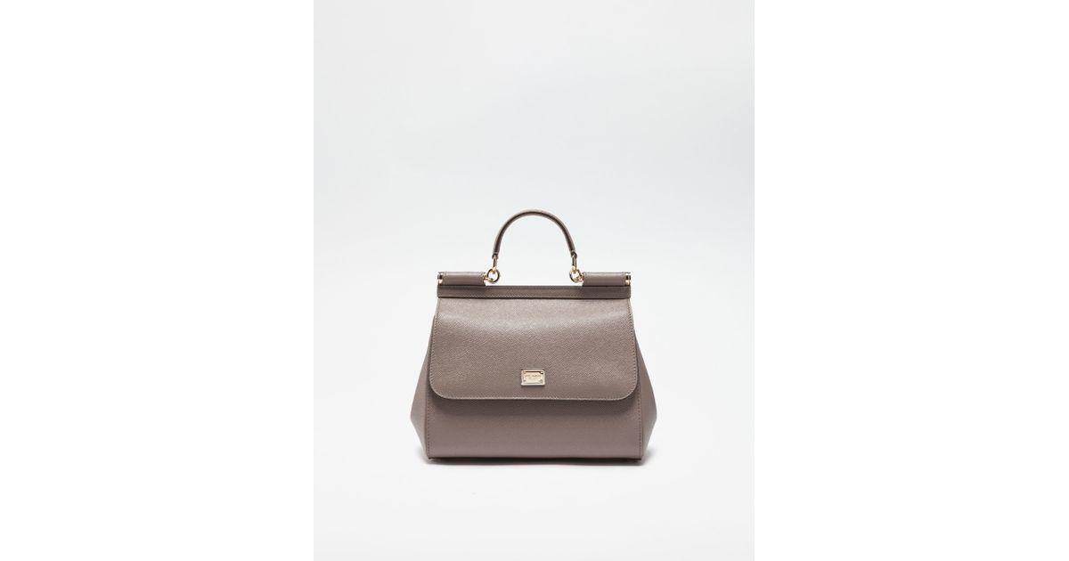 Dolce   Gabbana Medium Sicily Handbag In Dauphine Leather in Gray - Lyst 41b98163d2d8a