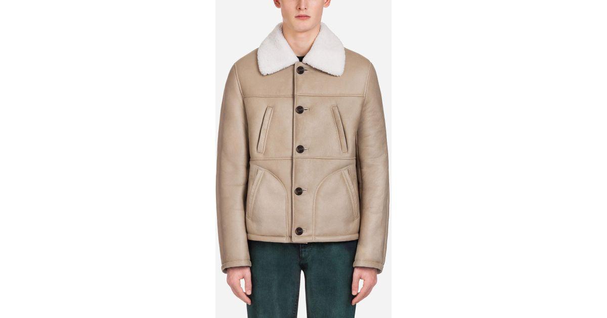 4e9763d70 Dolce & Gabbana - Natural Sheepskin Jacket for Men - Lyst