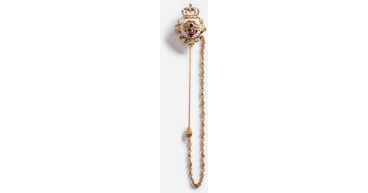 e2b663cd0808 Dolce & Gabbana Metal Lapel Pin With Emblem in Metallic - Lyst