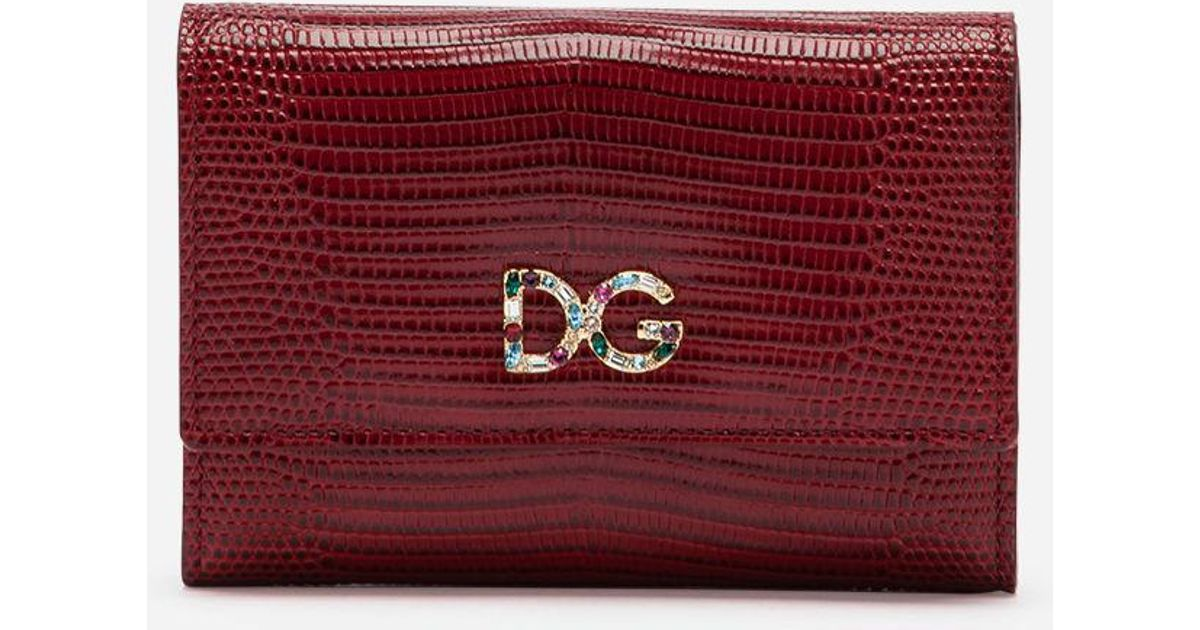 Lyst - Dolce   Gabbana Small Continental Wallet In Iguana Print Calfskin in  Red 50570cfbce115