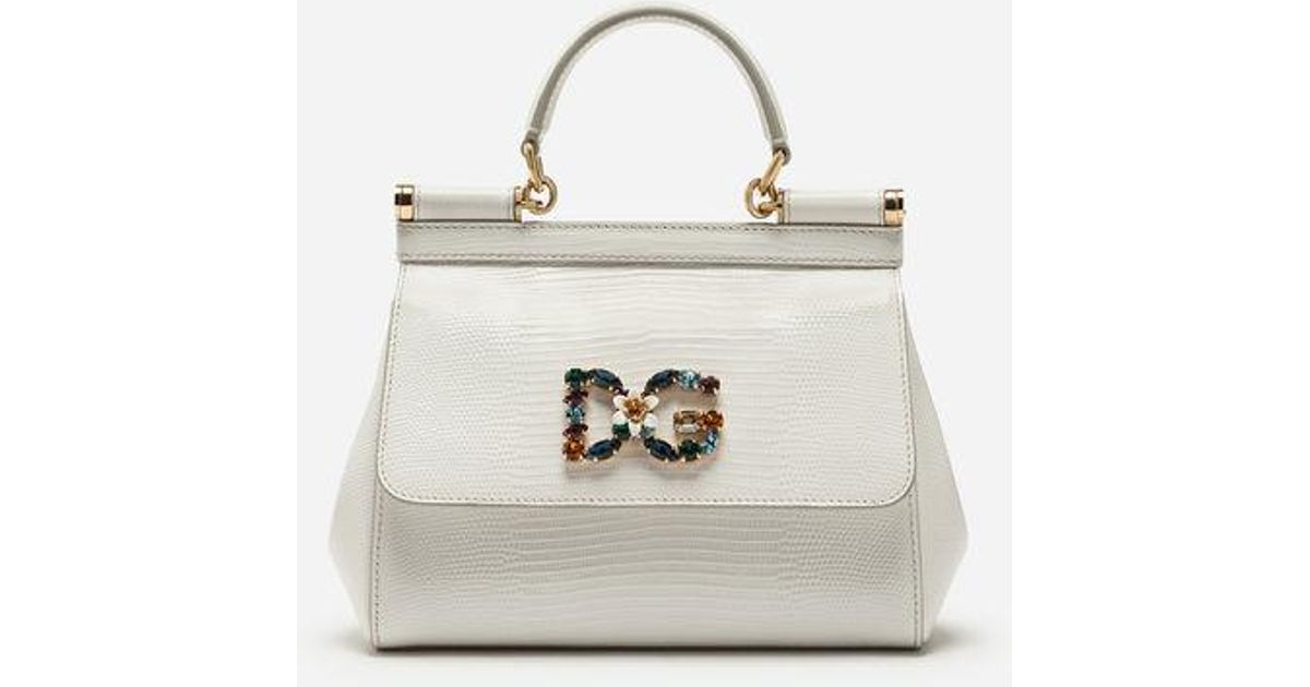 fa9b1d04ddfb3 Dolce   Gabbana Small Calfskin Sicily Bag With Iguana-print And Dg Crystal  Logo Patch in White - Lyst