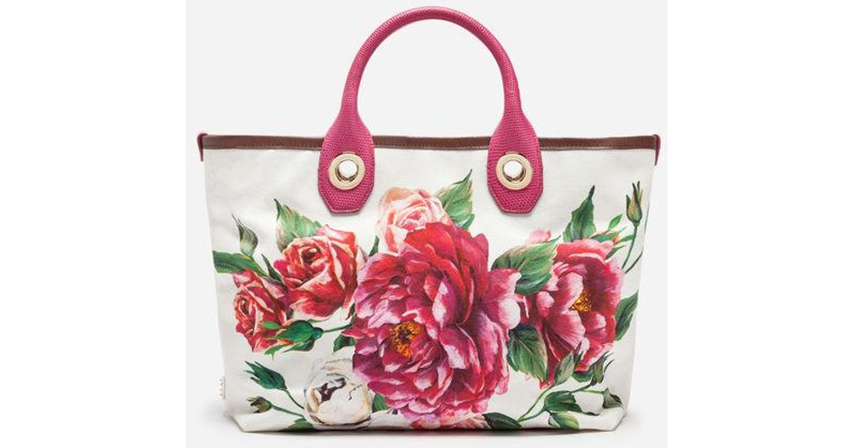 f2cca4e94777 Dolce   Gabbana Small Capri Shopping Bag In Printed Canvas in Purple - Lyst