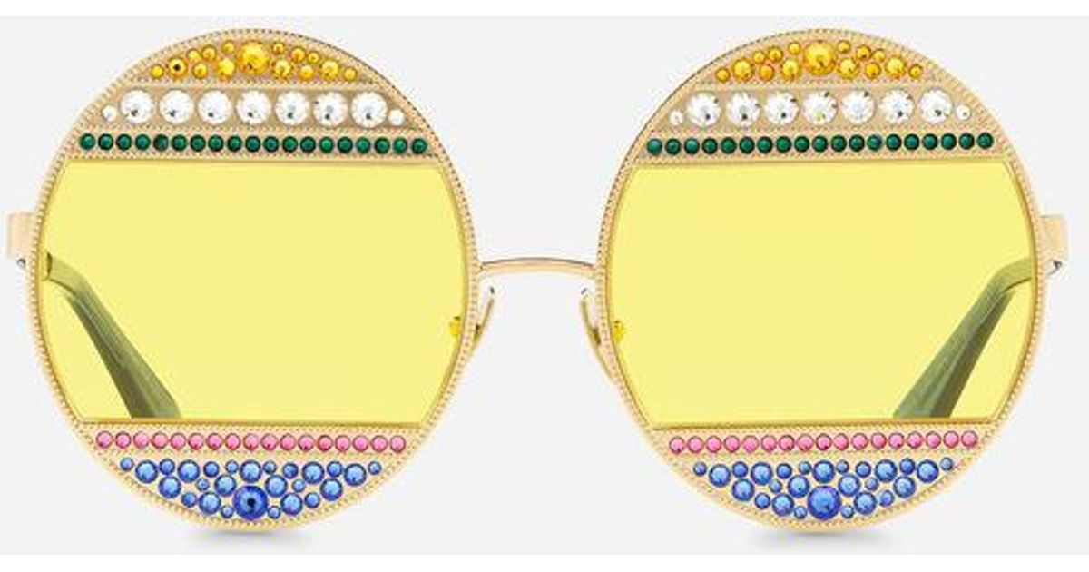 Soleil Coloris Avec Dolceamp; Métal Gabbana Multicolor Ovales Cristaux Lunettes En De bYIv6yf7g