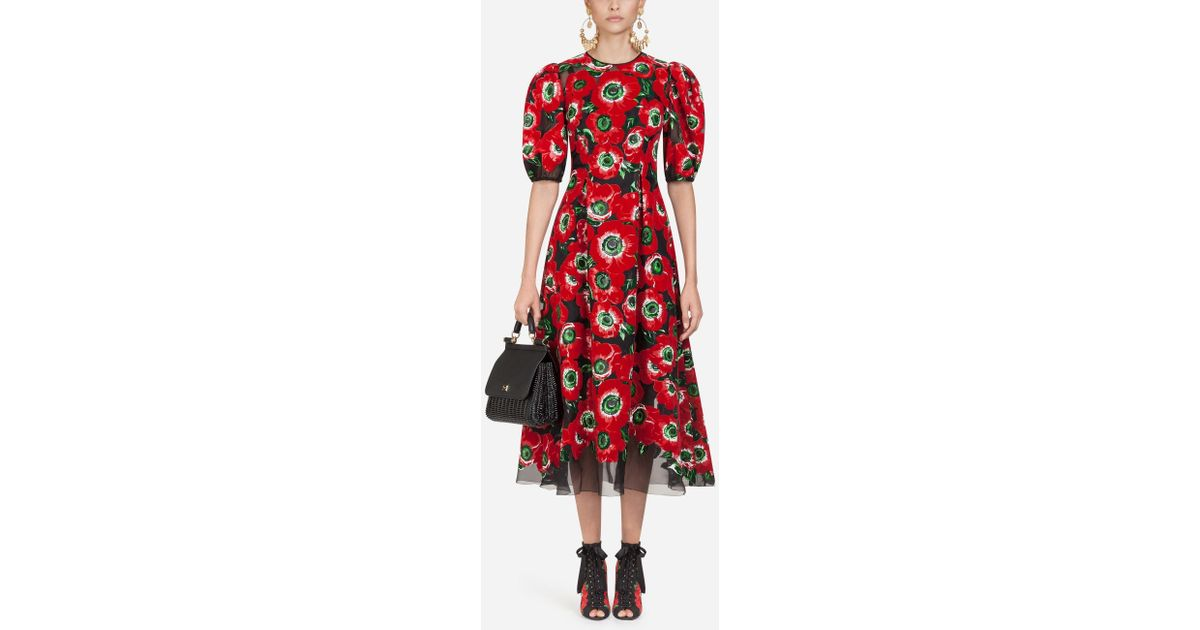 0173c41db9d Dolce   Gabbana Long Silk Dress With Anemone Print in Red - Save 40% - Lyst