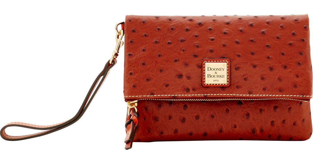 a1a36ec1ac1a Lyst - Dooney & Bourke Ostrich Foldover Wallet in Red