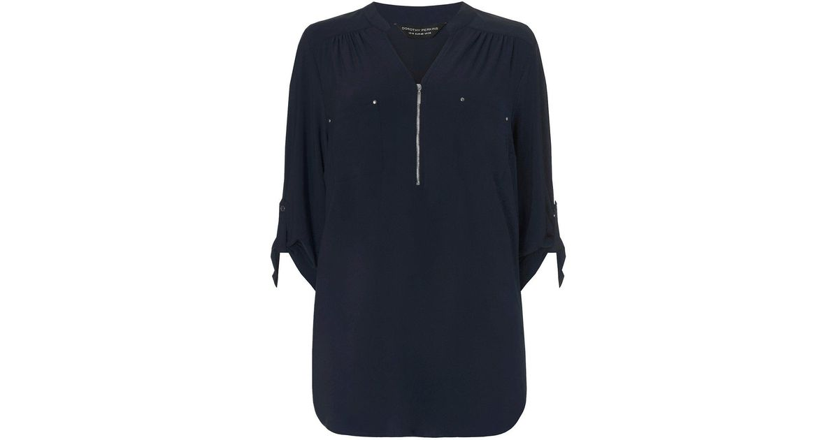 d94a2264aac4 Lyst - Dorothy Perkins Dp Curve Navy Zip Jersey Blouse in Blue
