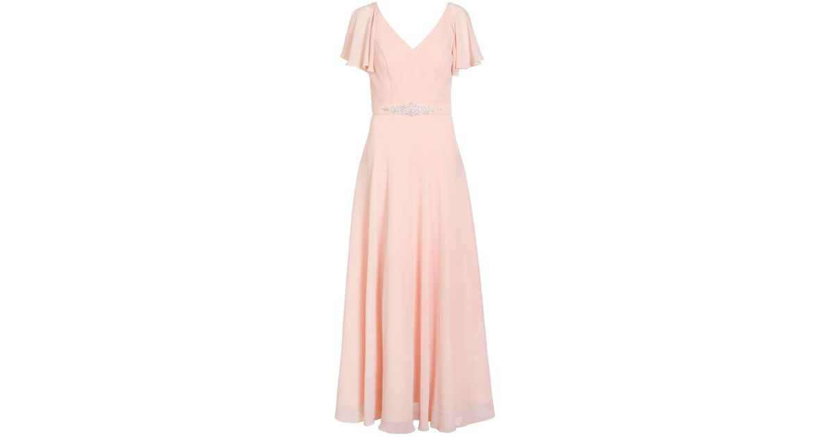 Lyst - Dorothy Perkins Quiz Peach Chiffon V-neck Maxi Dress in Pink