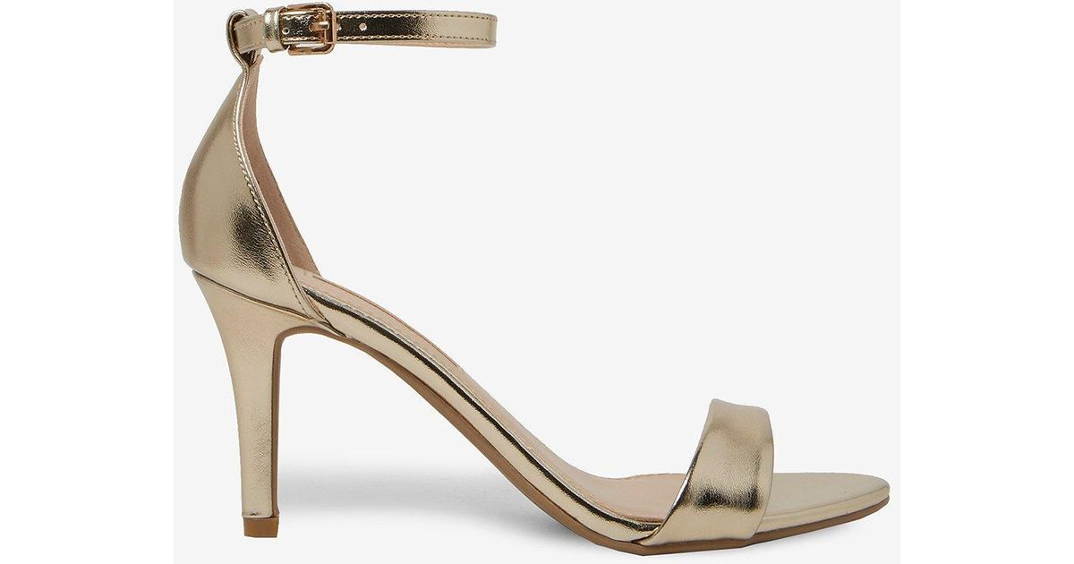 bf085888bbf Lyst - Dorothy Perkins Gold Stella Mid Heel Sandals in Metallic