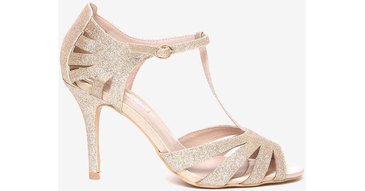 Dorothy Perkins Bar T Lyst Sandals 'beth' Gold Metallic In ED2WHI9