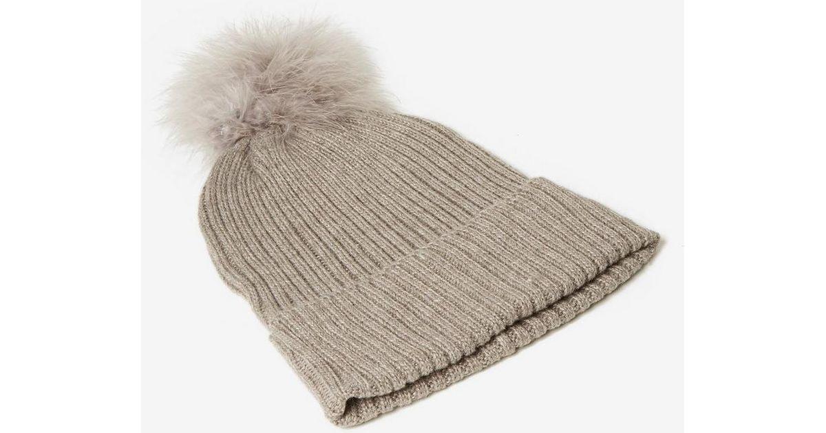 fd7312435ef Lyst - Dorothy Perkins Grey Marabou Pom Pom Beanie Hat in Gray