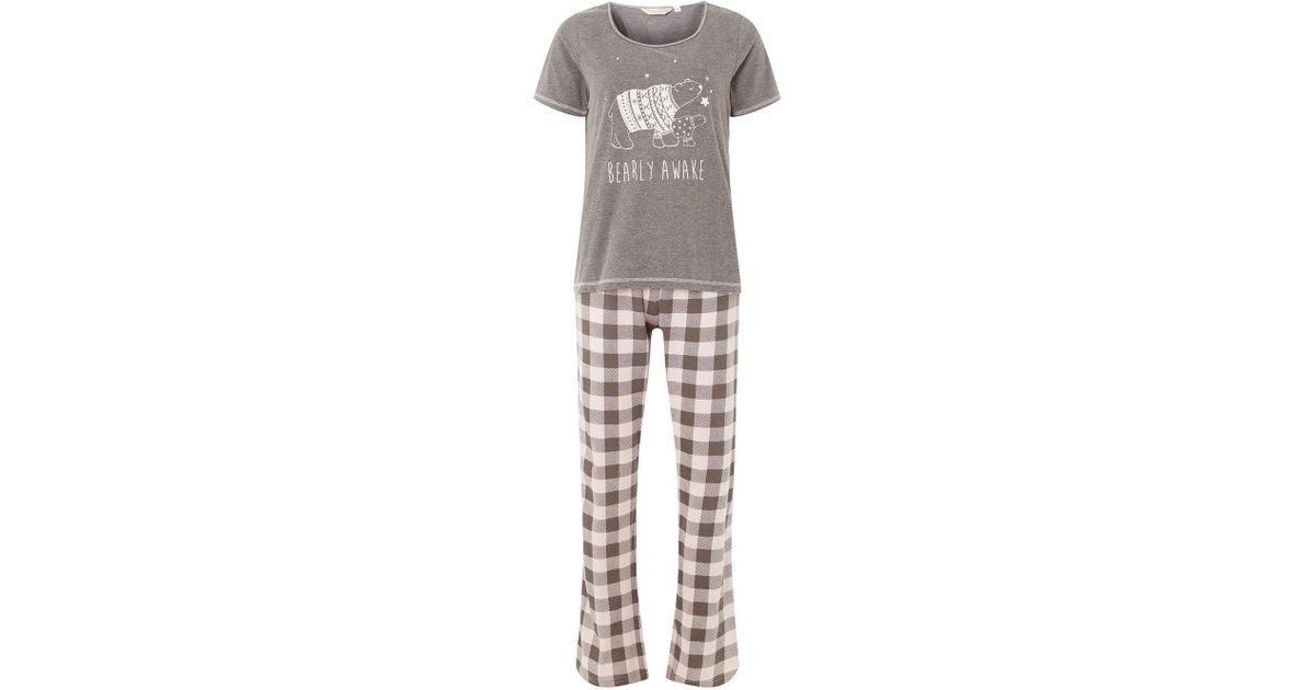 4551ef1e26 Dorothy Perkins Grey Polar Bear Pyjamas in Gray - Lyst