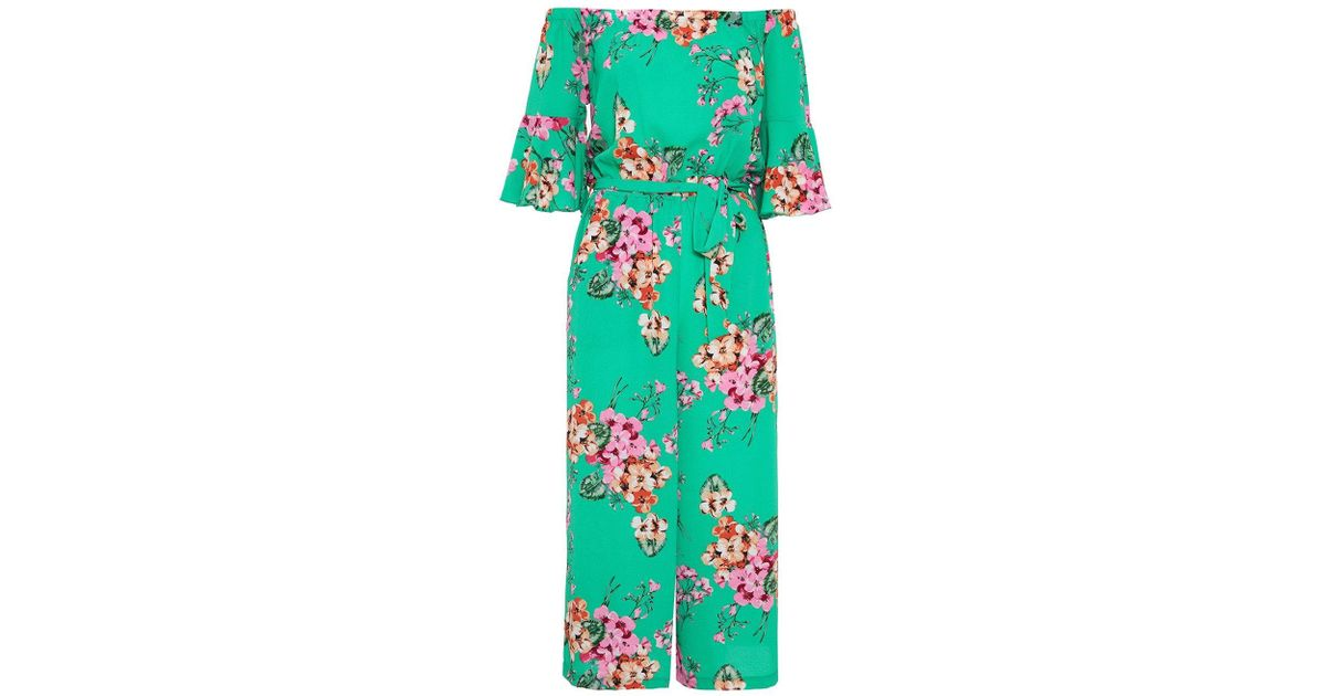 784dc3f6445f Lyst - Dorothy Perkins Quiz Green And Pink Frill Bardot Jumpsuit in Green