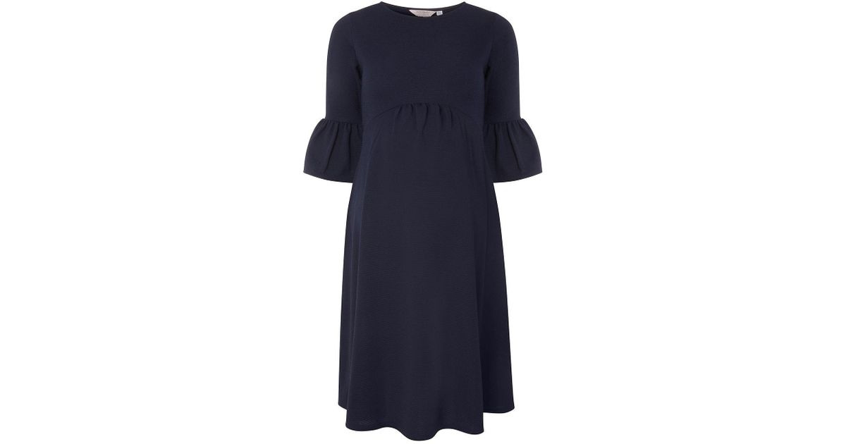 e5a548f755135 Lyst - Dorothy Perkins Maternity Navy Flute Sleeve Empire Skater Dress in  Blue