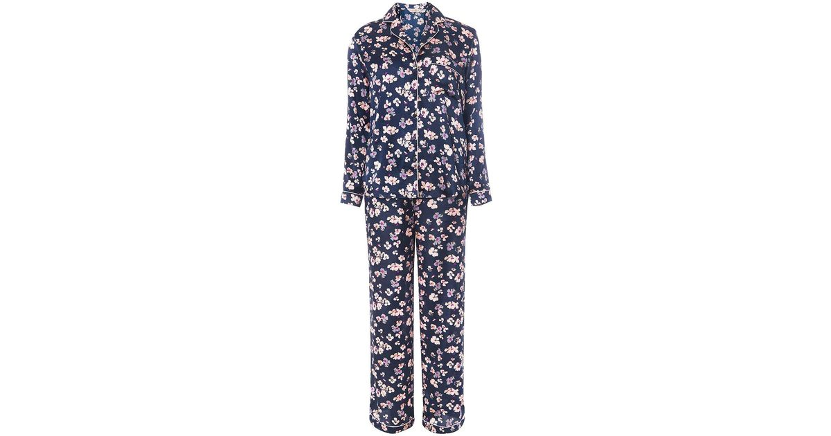 b179e5ef4ffb Lyst - Dorothy Perkins Floral Satin Revere Pyjama Set in Blue