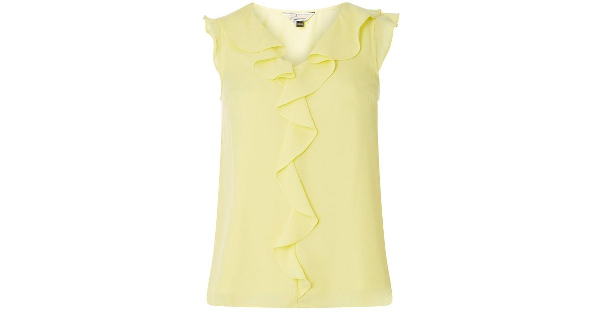 974fa66610ed8d Dorothy Perkins Billie & Blossom Lemon Ruffle Shell Top in Yellow - Lyst
