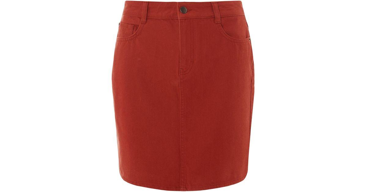 62b908f242 Dorothy Perkins Rust Denim Mini Skirt in Red - Lyst