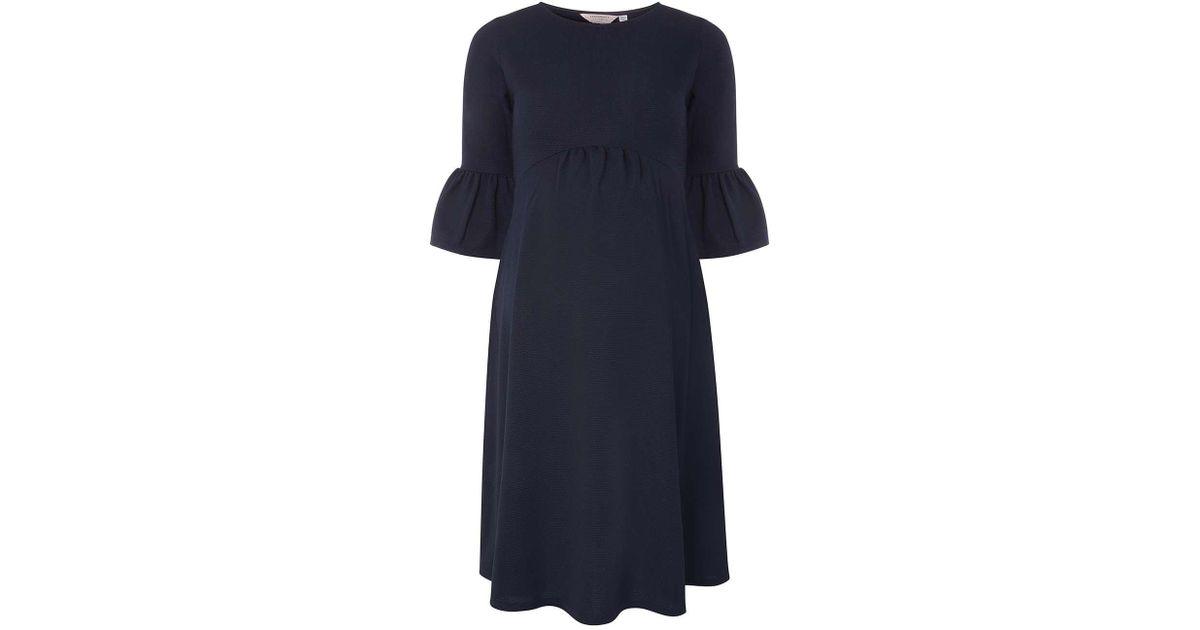 65a670f1053ce Dorothy Perkins Maternity Navy Flute Sleeve Empire Skater Dress in Blue -  Lyst