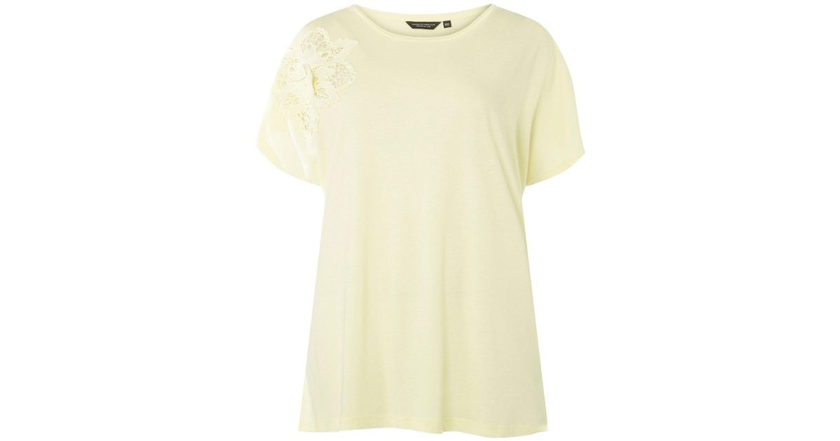 b98f38637 Lyst - Dorothy Perkins Dp Curve Lemon Floral Applique T-shirt in Yellow