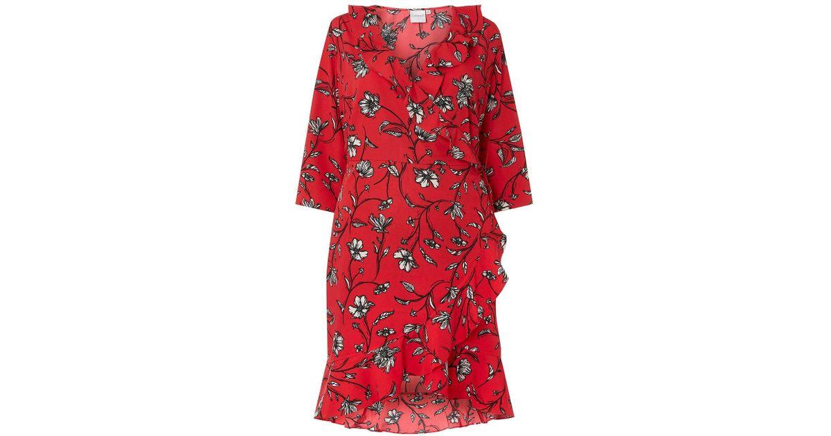 662127d5b82 Lyst - Dorothy Perkins Juna Rose Curve Red Floral Print Wrap Dress in Red