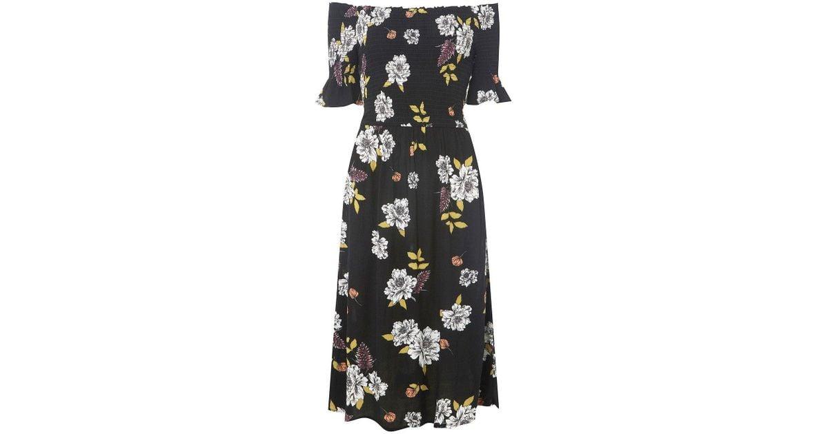 c106afc3f2d99 Lyst - Dorothy Perkins Black Floral Print Bloom Shirred Midi Skater Dress  in Black