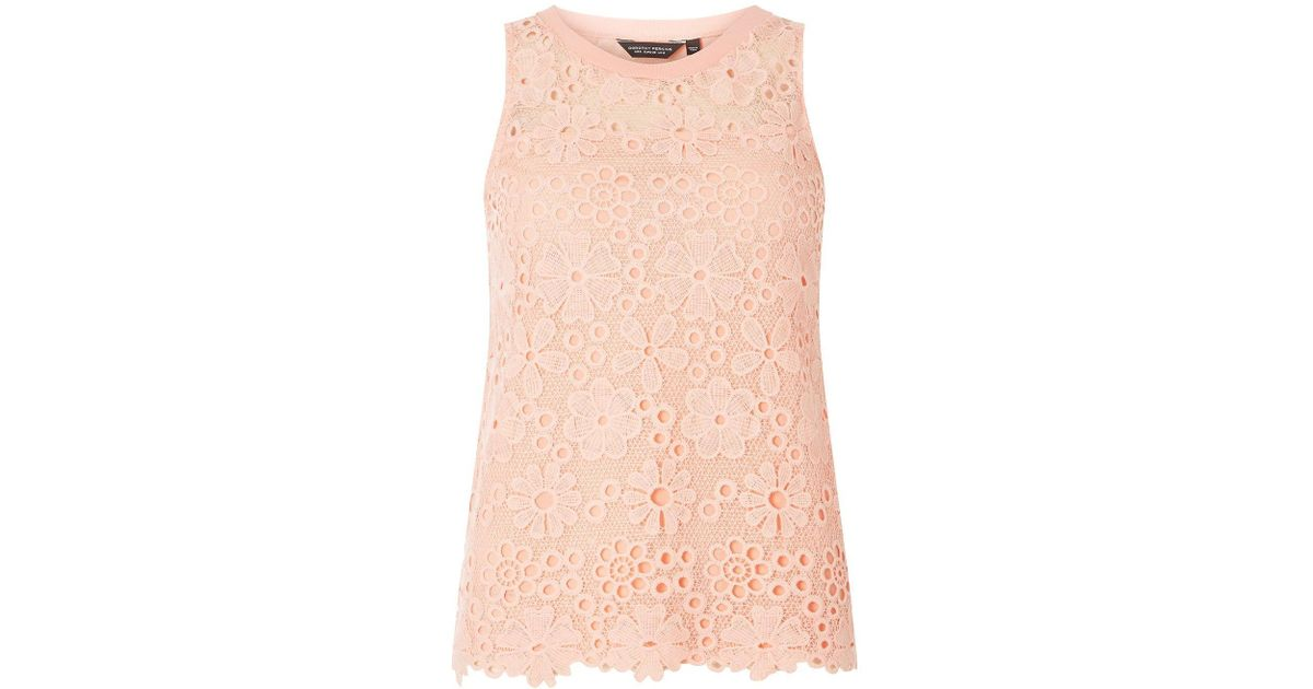 a9e71ac8291c96 Lyst - Dorothy Perkins Coral Daisy Lace Shell Top in Red