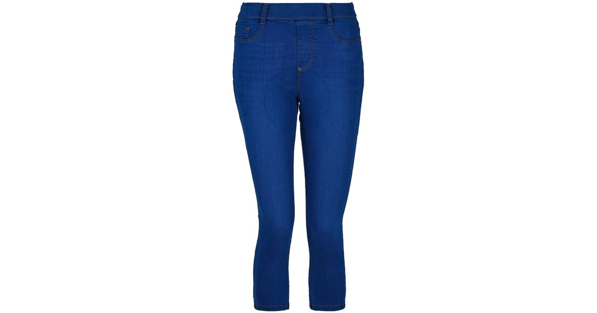 bb18b8a2acc Lyst - Dorothy Perkins Bright Blue Eden Super Soft Cropped Jeggings in Blue