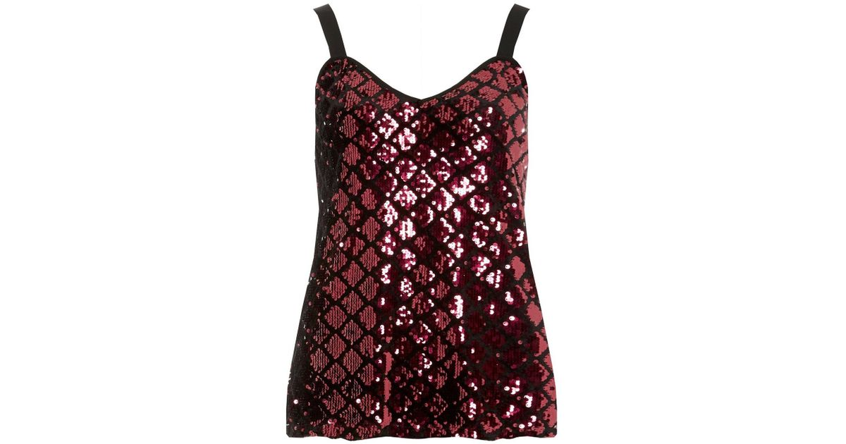 ef2b1aaf Dorothy Perkins Raspberry Diamond Sequin Camisole Top in Red - Lyst