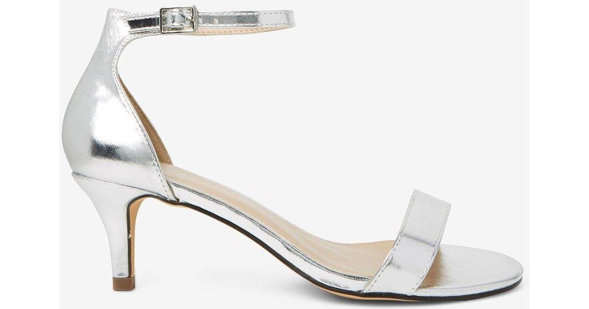 e982aace6726e Dorothy Perkins Wide Fit Silver 'sunset' Kitten Heel Sandals in Metallic -  Lyst