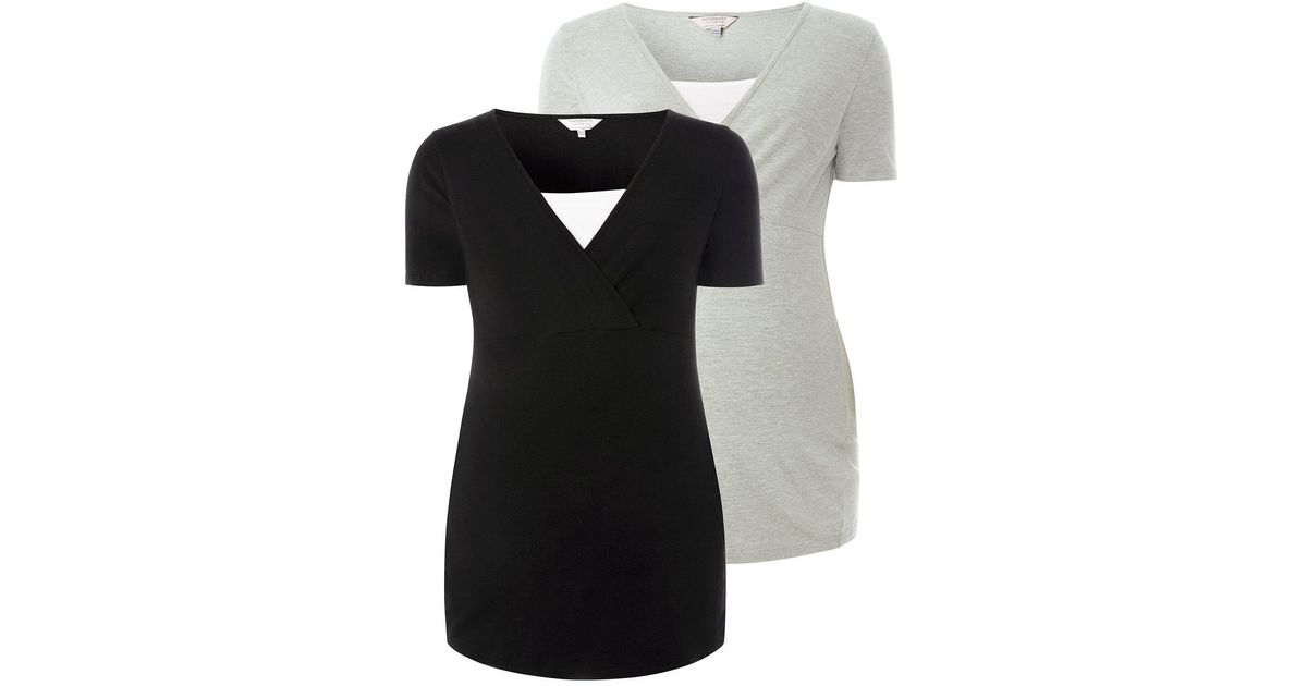 d6ce99c6cf0 Dorothy Perkins Maternity Two-pack Black And Grey Nursing T-shirts in Gray  - Lyst